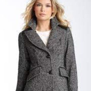 GUESS Tweed Riding Jacket with Leather Accents